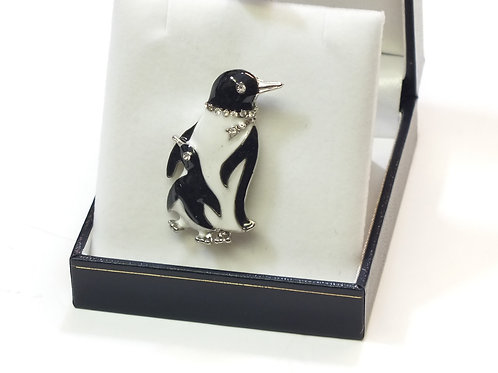 Adorable Adult and Baby Penguin Enamel & CZ  Brooch