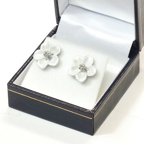 Pierced Stud Earring with  Enamel White Flower and Rhodium plated detail