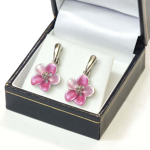 Pierced Drop Earring with  Enamel Hot Pink Flower and Rhodium plated detail