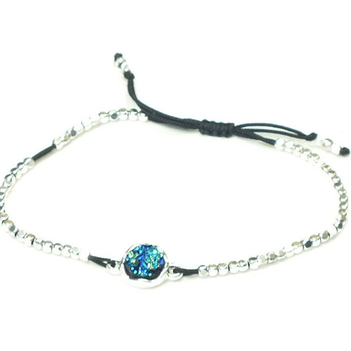 Blue Stone On Draw String Bracelet