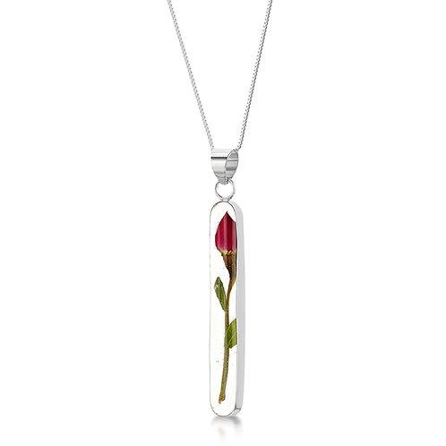 Sterling Silver Pendant - Rose bud - Long Stem