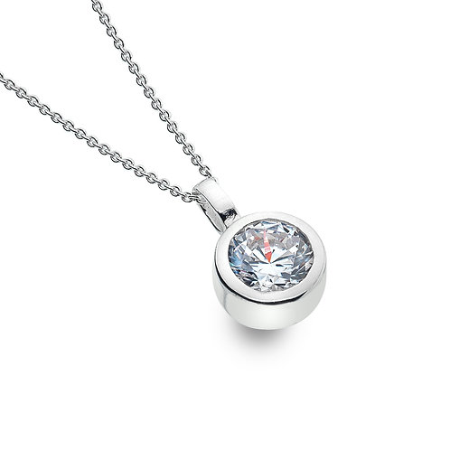 Sterling Silver Pendant Round Faceted CZ