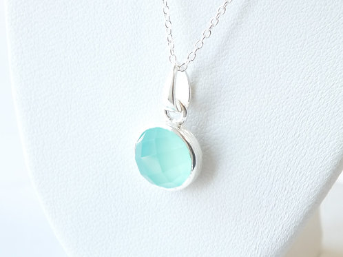 """Semi Precious Stone Necklace 16-18"""" S.S Chain - Mar - Aqua Chalcedony"""