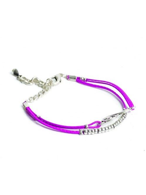 Leather Treble Clef Bracelet Fuxia Leather