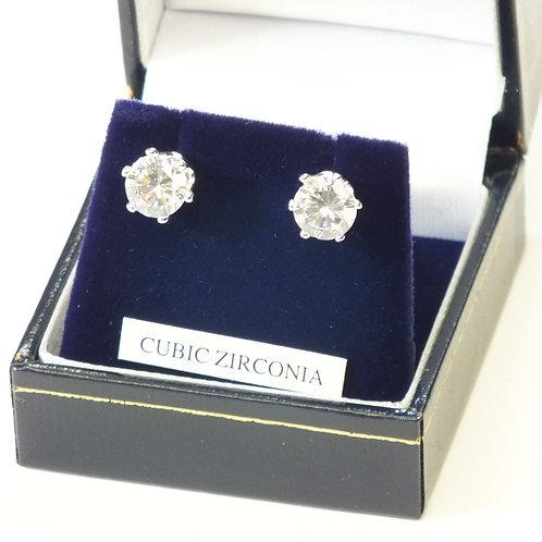 Cz Rhodium Pierced Earrings