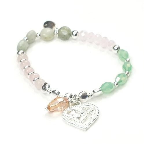 Love Heart Semi Precious Charm Bracelet