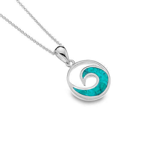 Stirling Silver Pendant -  Ocean Wave+Turquoise