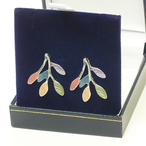 Multi Coloured Leaves Earrings with Rhodium Plating