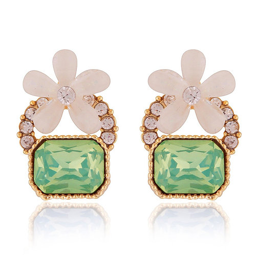White Daisy Studded Earrings with Green Gemstone