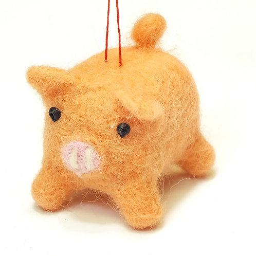 Wool Mix Pink Pig Decoration