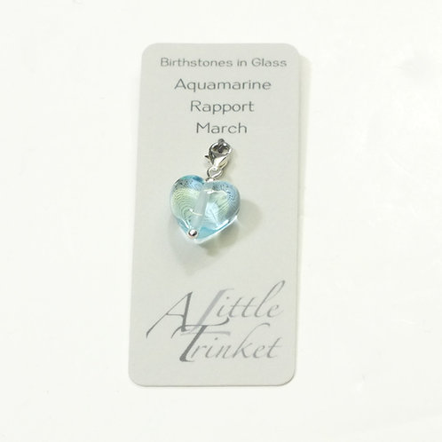Birthstones in Glass - Cora Heart Clip on Charms Aquamarine - March
