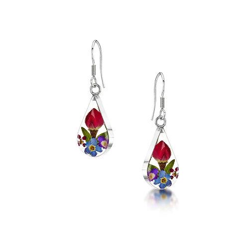 Silver Drop Earring-Mixed Flower -Teardrop