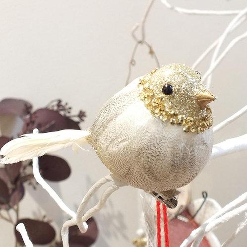 Pewter Glitter/Beige Feather Bird On Clip
