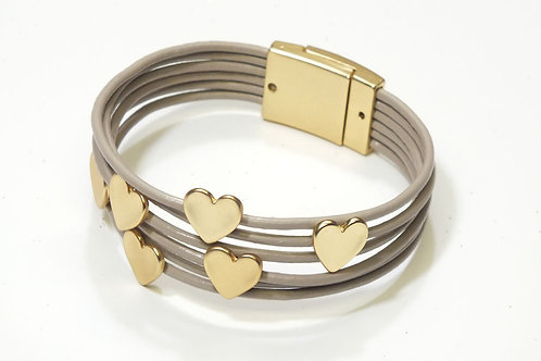 Yellow Gold Hearts & Leather Magnetic Bracelet
