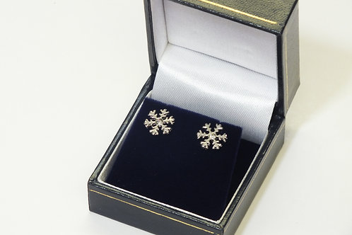 Rhodium Snowflake Stud Earrings