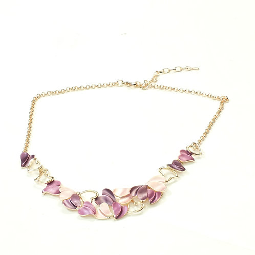 """Purple/Blue Heart Necklace with Rose Gold/Rhodium Heart Details   16-18"""""""
