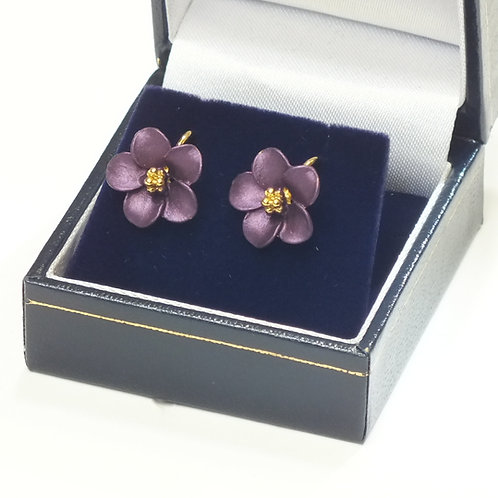 Purple and Gold Flower Clip on's