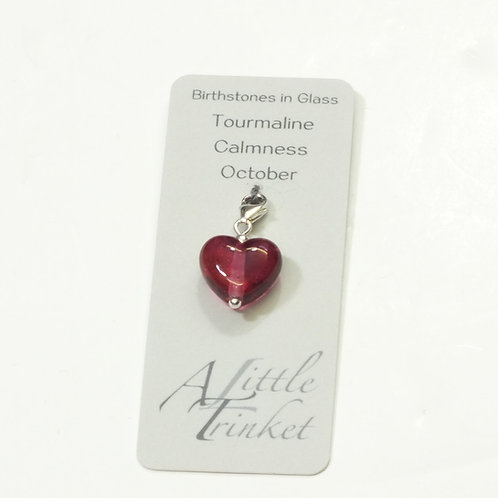 Birthstones in Glass - Cora Heart Clip on Charms Tourmaline - October