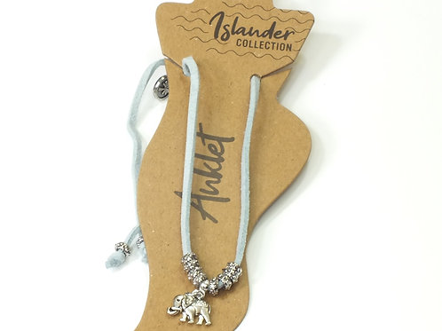 Blue Faux Leather Anklet with Charm