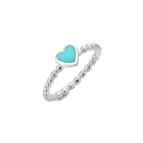 Stirling Silver Ring -  Bubble Design with Turquoise Heart