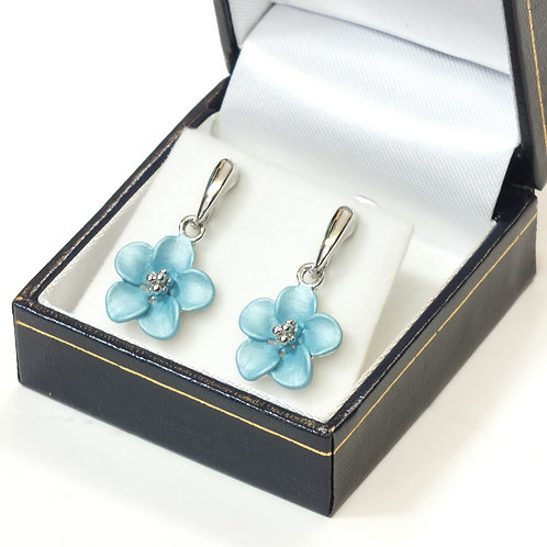 Pierced Drop Earring with  Enamel Turquoise Flower and Rhodium plated detail