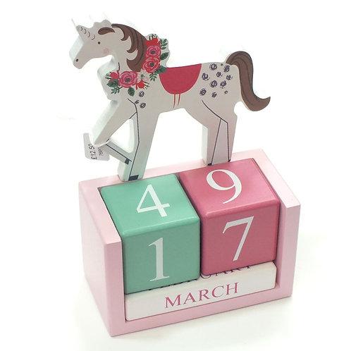 Unicorn Wooden Desktop Calendar