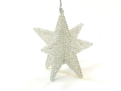 Pale Silver 3D 5-Point Star Decoration - 8cm