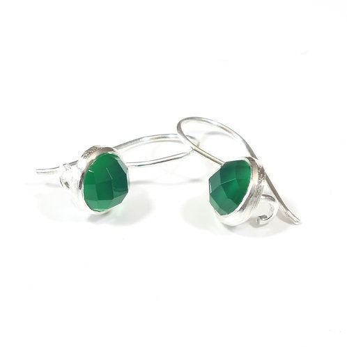 Semi Precious Stone Drop Earrings SS - May-Emerald/Green Onyx