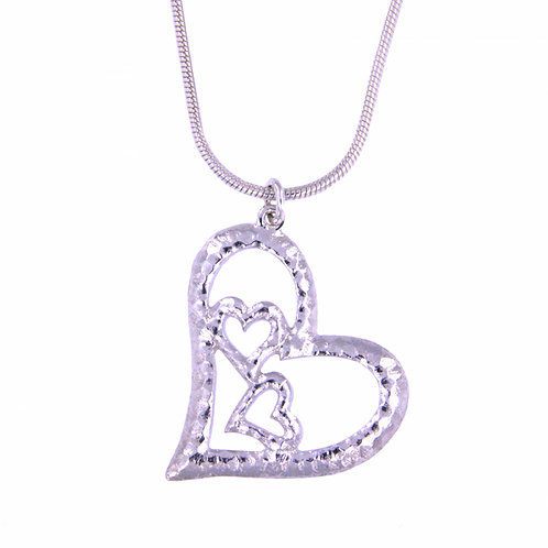 "Three Hearts Pendant on 16"" Snake"