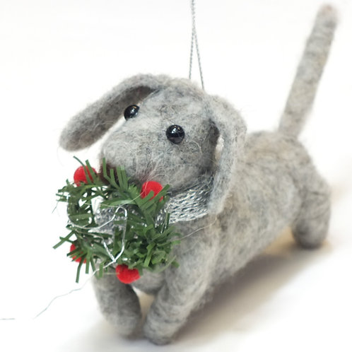 Wool Mix Dachshund with Wreath Decoration