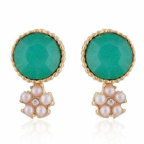 Jade Gemstone Stud Earrings with Daisy Pearl Drop