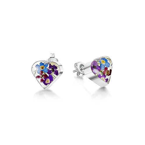 Silver Stud Earring - Purple Haze - Heart