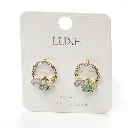 Collection of Gems on Circle Stud Earrings