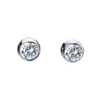 Sterling Silver Stud Earrings CZ Round