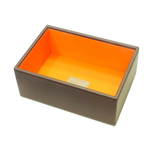 Mini Brown Deep Open Stacker With Orange Lining