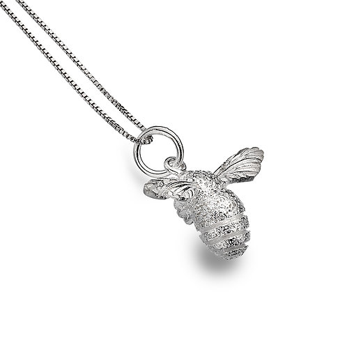Sterling Silver Pendant and chain  Large Textured Bee