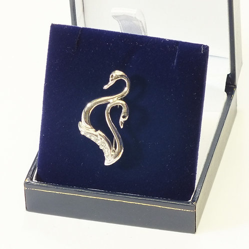 Rhodium Two Swan Brooch
