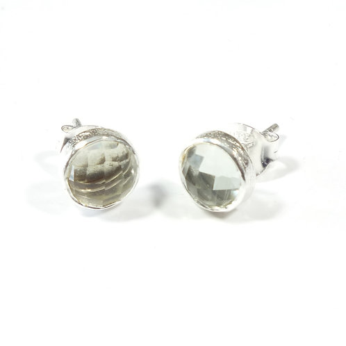 Semi Precious Stone Stud Earrings SS - Aug - Prasiolite