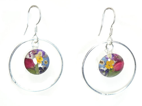 Sterling Silver drop earrings-mixed flowers - with silver surround