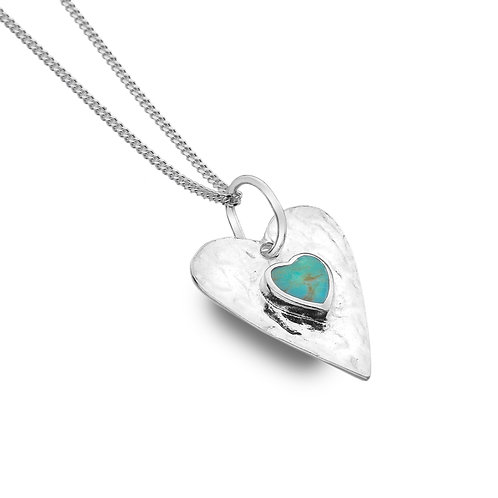 Stirling Silver Pendant - Heart+Turquoise Textured