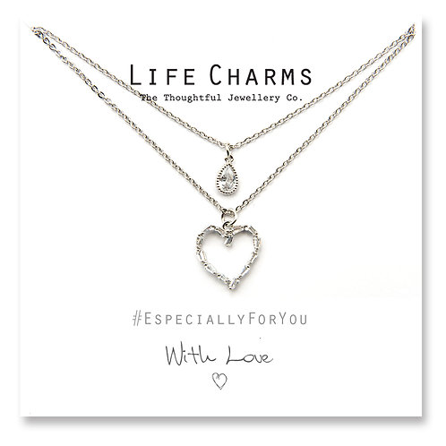 2 Layer CZ Silver Heart and Teardrop Necklace