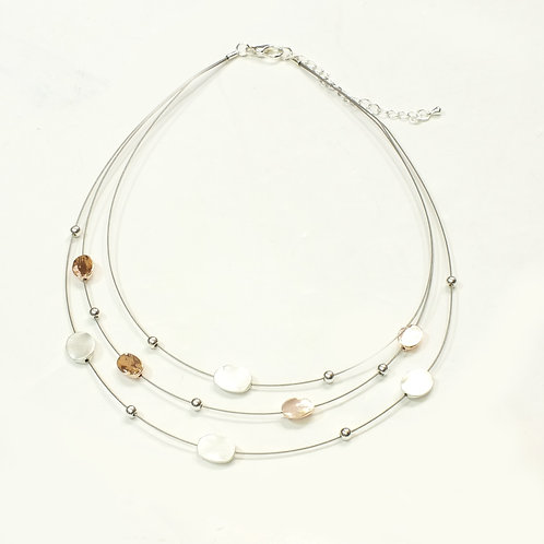Rose Gold and Silver 3 Tier Wire Necklace