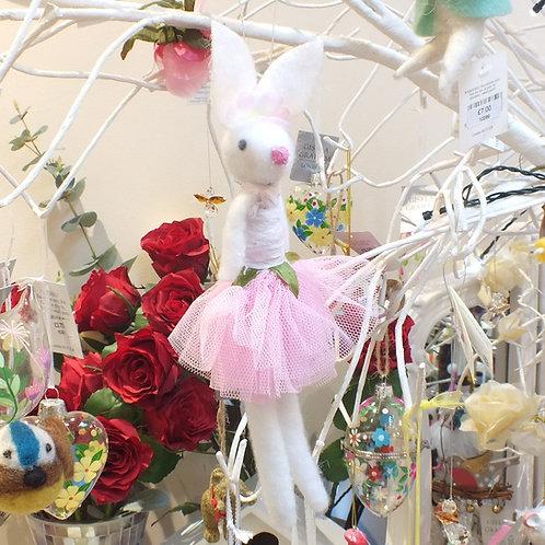 Wool Mix/Net Ballerina Bunny Decoration
