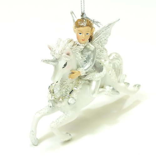 Silver/White Fairy on Unicorn Hanging Decoration