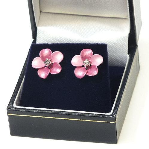 Pink Flower Pierced Earrings