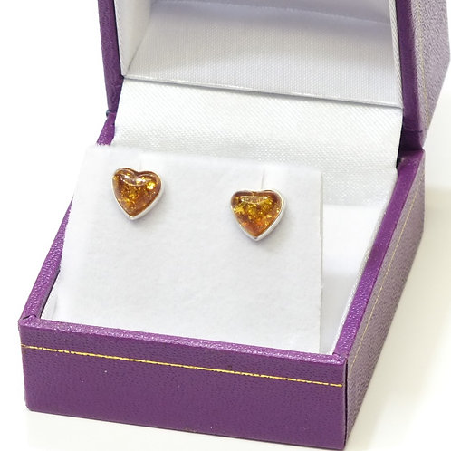 Amber Large Heart Studs