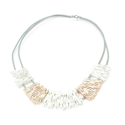 Rhodium And Rose Gold Fretwork Necklace