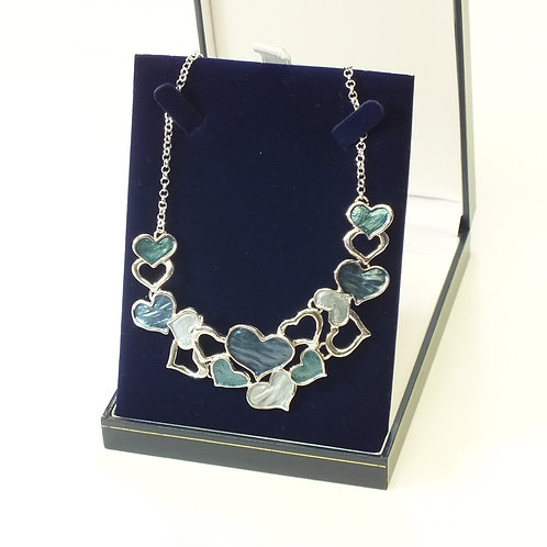 Rhodium Blue and Sea Green Enamel Heart Necklace