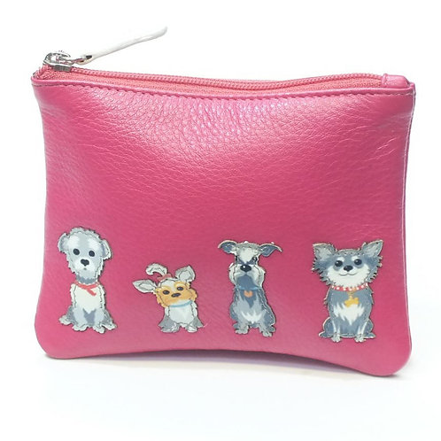 Best Friends Grey Dogs Coin Purse Pink