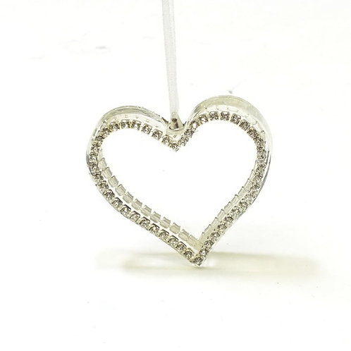 Clear Glass Heart with Diamante Edge Hanging Decoration